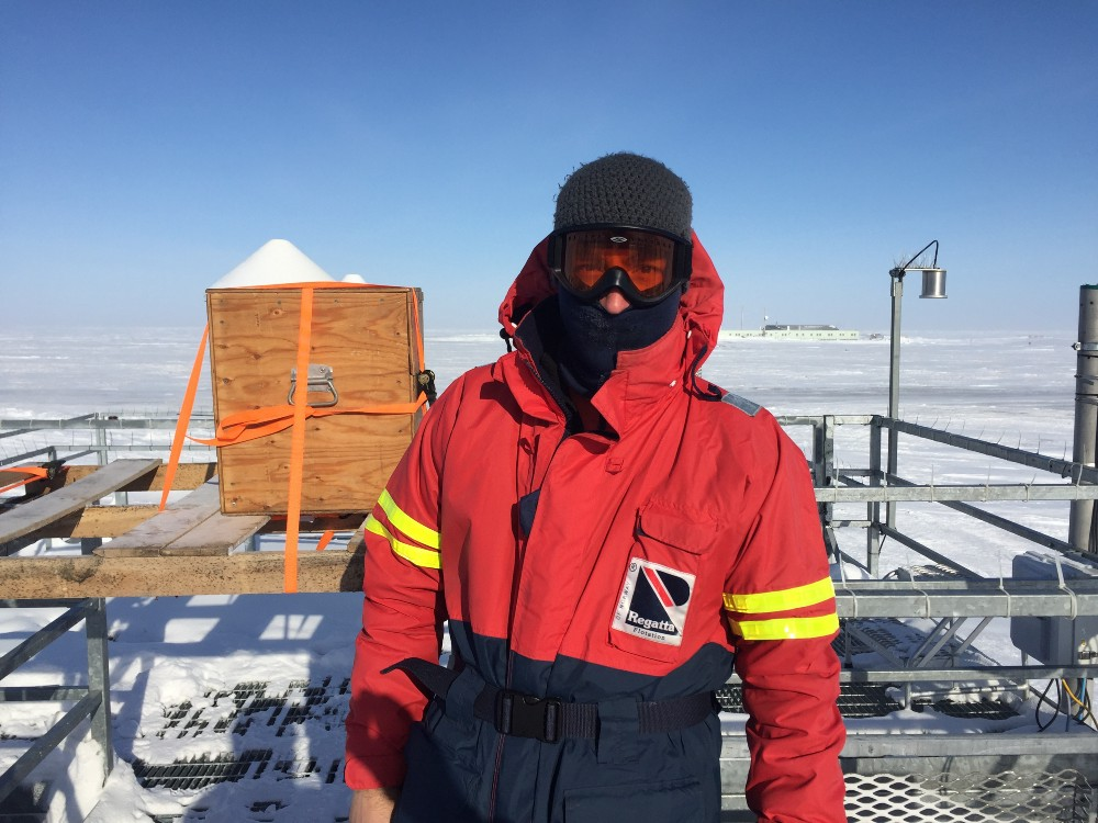 Climate researcher Gijs de Boer dressed for the elements this spring at Oliktok Point, the second of two U.S. observation stations in the 10-site pan-Arctic research consortium.