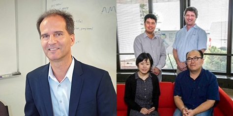 Pavlos Kollias (left) of Brookhaven's Environmental and Climate Sciences Department and his research group, including Mariko Oue, developed the Cloud Resolving Model SIMulator (CR-SIM). (Standing left to right) Nicholas D'Imperio, Andrew Vogelmann, (seated left to right) Oue, and Kwangmin Yu are pictured at Brookhaven Lab's Computational Science Initiative (CSI). Yu of CSI's Computational Science Laboratory, led by D'Imperio, accelerated the code for CR-SIM, which simulates what radar and other sensors would see if incorporated into an atmospheric model that resolves clouds. Vogelmann is using CR-SIM to evaluate model performance. Image courtesy of Brookhaven National Laboratory.