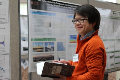 Chongai Kuang, Brookhaven National Laboratory, presents his poster during one of the posters sessions held during the 2016 meeting.