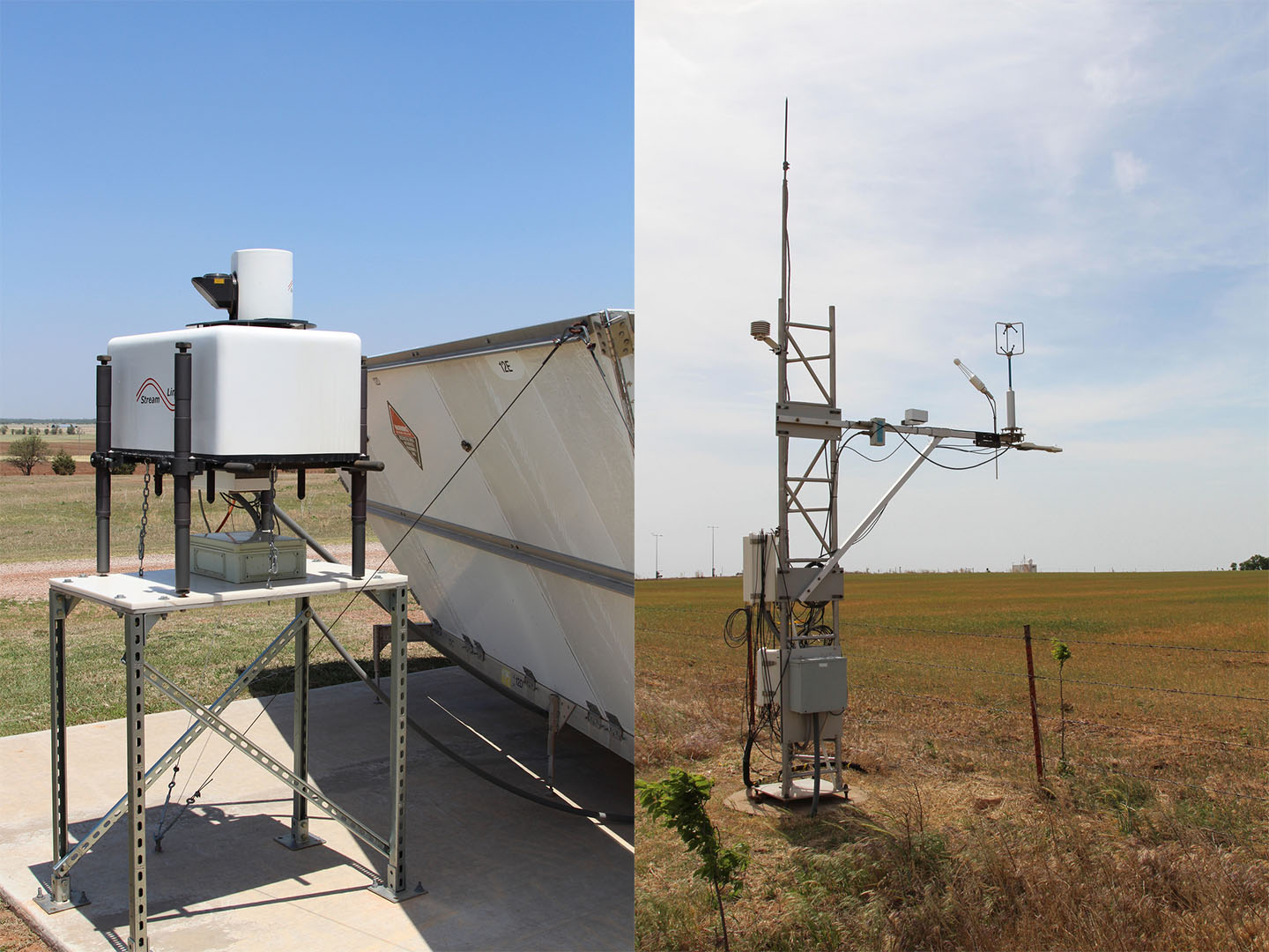 Two of the most important ARM instruments for Yunyan Zhang's research are the Doppler Lidar (left) and the eddy correlation (ECOR) flux measurement system (right). The first enables 3D mapping of turbulent flows in the atmospheric boundary layer; the second measures surface turbulence fluxes.