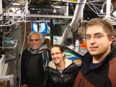 Researchers from Los Alamos National Laboratory—from left to right: Manvendra Dubey, Allison Aiken, and Kyle Gorkowski—at the site near London took a moment to capture this image. Image courtesy of Manvendra Duby, Los Alamos National Laboratory.