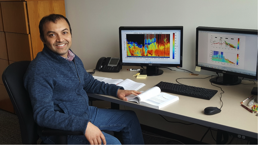 ASR scientist Virendra Ghate takes a moment at his desk at Argonne National Laboratory.