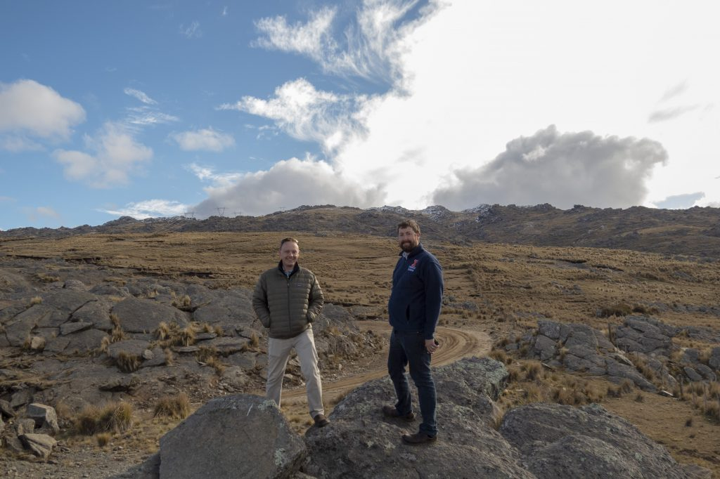Varble, left, and Stephen Nesbitt of the University of Illinois, right, pause in 2016 during a site survey in Argentina's Sierras de Córdoba mountain range for the Cloud, Aerosol, and Complex Terrain Interactions (CACTI) field campaign. Photo courtesy of Nesbitt.
