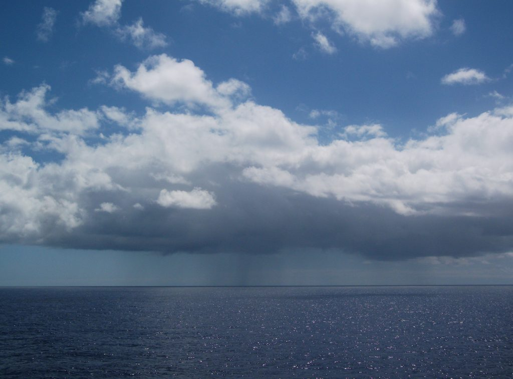 This 2012 image shows a drizzling marine stratocumulus cloud over the northeast Pacific Ocean. In a 2015 paper, Chiu and others reported a novel method of simultaneously retrieving vertical profiles of both cloud and drizzle.