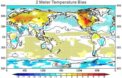 The CAUSES model intercomparison study, with a focus on the Southern Great Plains region where model errors are particularly large, is providing additional understanding of the role of clouds, radiation, and precipitation errors in contributing to the common temperature biases in earth system models. (Small dots indicate the regions where analyzed models agree in the sign of their bias, Ma et al., 2014.)