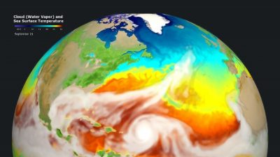 DOE's new E3SM earth system model can simulate storms with surface winds faster than 150 miles per hour. This picture from the simulation shows how the storms affect the sea's surface temperatures in ways that can influence future hurricanes.