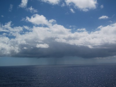 A drizzling marine stratocumulus cloud over the Northeast Pacific Ocean taken during Leg 17 of the Marine ARM GPCI Investigation of Clouds (MAGIC) Campaign.