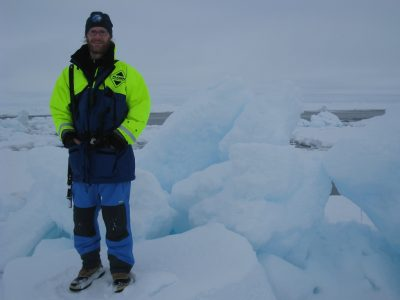 Matthew Shupe stands on sea ice in the central Arctic Ocean in 2008 during the Sweden-led Arctic Summer Cloud Ocean Study (ASCOS), designed to study the formation and lifecycle of low-level arctic clouds. Photo courtesy of Shupe.