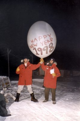 Matthew Shupe (left) poses at New Year's 1998 during a stint launching weather balloons in the Arctic. Photo courtesy of Shupe.