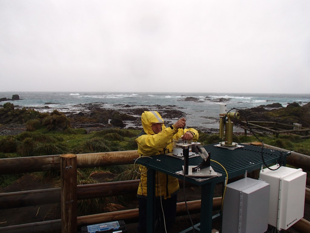 ARM technician Carlos Sousa installs sensors during the Macquarie Island Cloud and Radiation Experiment (MICRE), which took place from March 2016 to March 2018.