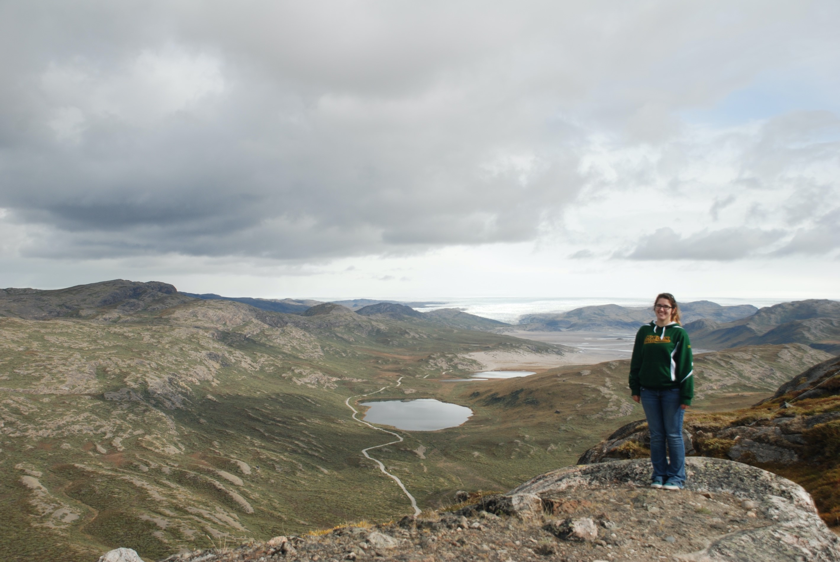 Hiking in Greenland, Murphy stayed in Kangerlussuaq when she traveled to Summit Station, Greenland, to assist with instrument calibration in 2015.