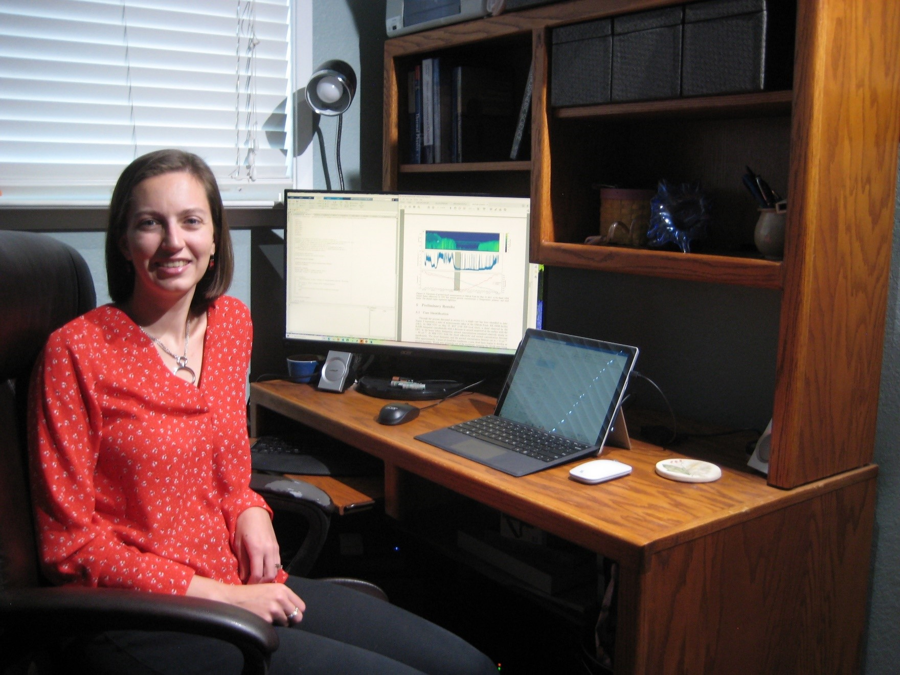 University of California, Davis, atmospheric scientist Adele Igel, busy on an ASR project on clouds in the Arctic, pauses in her Davis, California, home office.