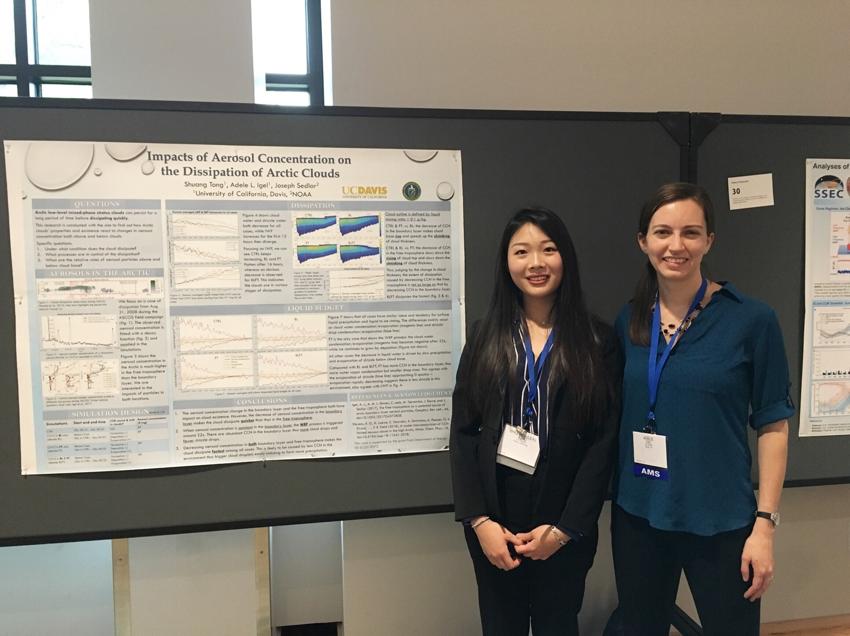 Adele Igel, at right, poses with former student Shuang (Lea) Tong at the American Meteorological Society's Polar Meteorology and Oceanography meeting in 2019. Tong's poster, pictured, presented the first results from Igel's ASR project.