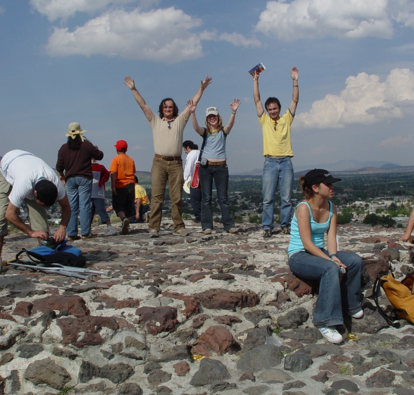 In this 2006 photo, Laskin (center, in beige shirt) joins international colleagues on a hike to climb the Teotihuacan pyramid in Mexico, during The Megacity Initiative: Local and Global Research Observations (MILAGRO) field campaign. Photo is courtesy of Laskin.