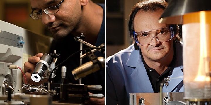 Swarup China, left, and Alexander Laskin, right, analyze atmospheric aerosols in search of their hard-to-describe chemistry. Photo of China is by Andrea Starr, Pacific Northwest National Laboratory.